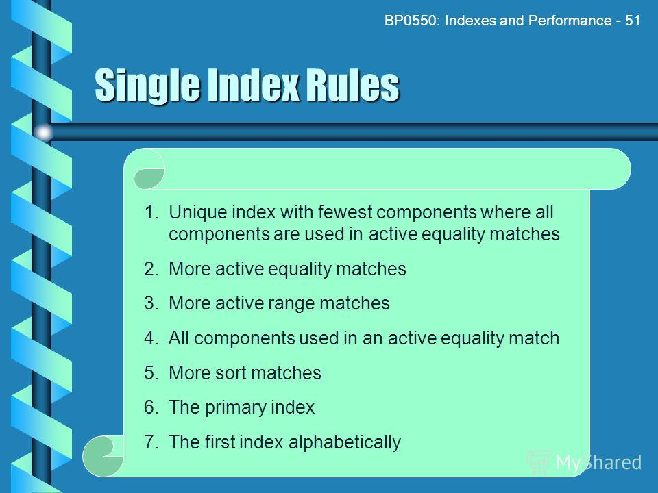 BP0550: Indexes and Performance - 51 Single Index Rules 1. Unique index with fewest components where all components are used in active equality matches 2. More active equality matches 3. More active range matches 4. All components used in an active e
