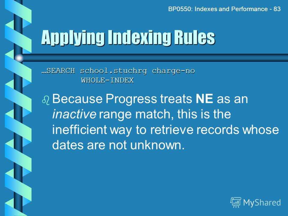 BP0550: Indexes and Performance - 83 Applying Indexing Rules …SEARCH school.stuchrg charge-no WHOLE-INDEX Because Progress treats NE as an inactive range match, this is the inefficient way to retrieve records whose dates are not unknown.