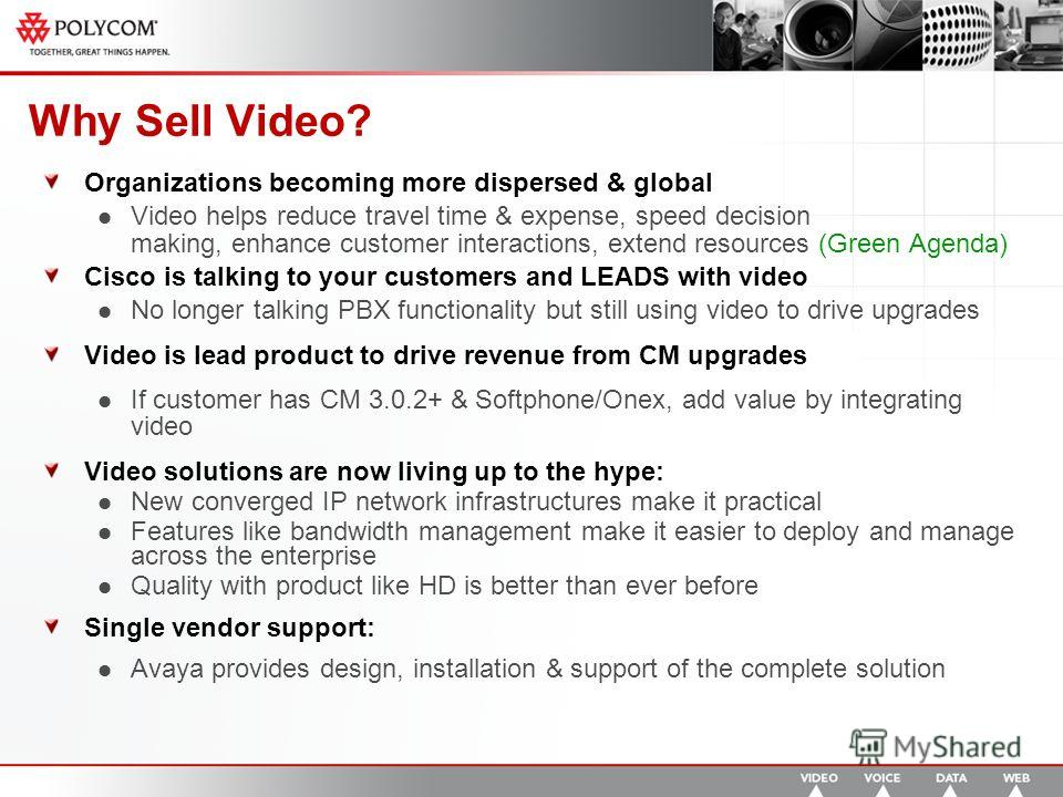 Why Sell Video? Organizations becoming more dispersed & global Video helps reduce travel time & expense, speed decision making, enhance customer interactions, extend resources (Green Agenda) Cisco is talking to your customers and LEADS with video No
