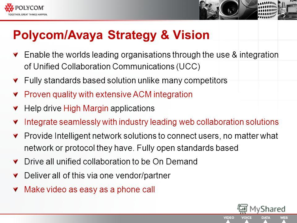 Polycom/Avaya Strategy & Vision Enable the worlds leading organisations through the use & integration of Unified Collaboration Communications (UCC) Fully standards based solution unlike many competitors Proven quality with extensive ACM integration H