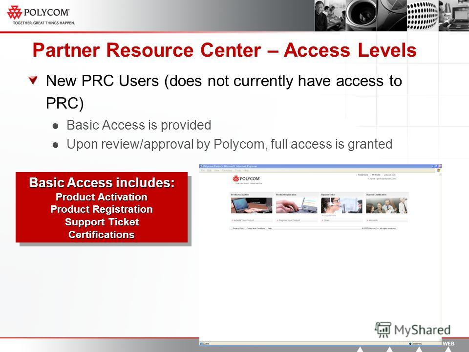 Partner Resource Center – Access Levels New PRC Users (does not currently have access to PRC) Basic Access is provided Upon review/approval by Polycom, full access is granted Basic Access includes: Product Activation Product Registration Support Tick