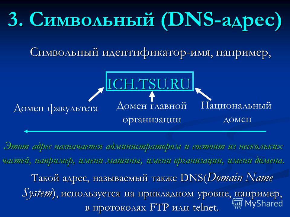 3. Символьный (DNS-адрес) Символьный идентификатор-имя, например, Этот адрес назначается администратором и состоит из нескольких частей, например, имени машины, имени организации, имени домена. Такой адрес, называемый также DNS( Domain Name System),