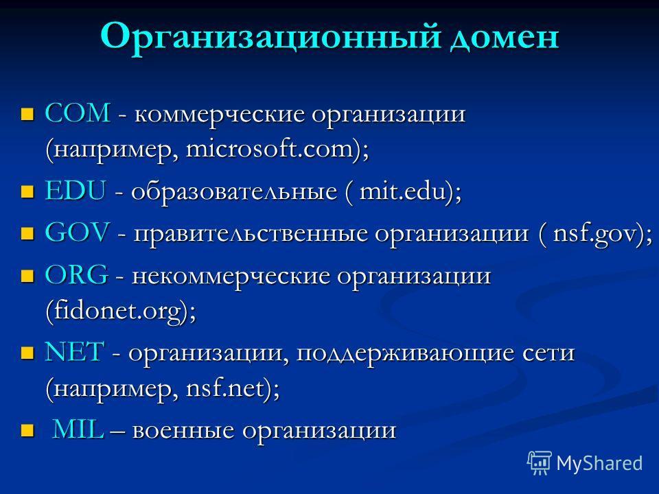 Организационный домен COM - коммерческие организации (например, microsoft.com); COM - коммерческие организации (например, microsoft.com); EDU - образовательные ( mit.edu); EDU - образовательные ( mit.edu); GOV - правительственные организации ( nsf.go