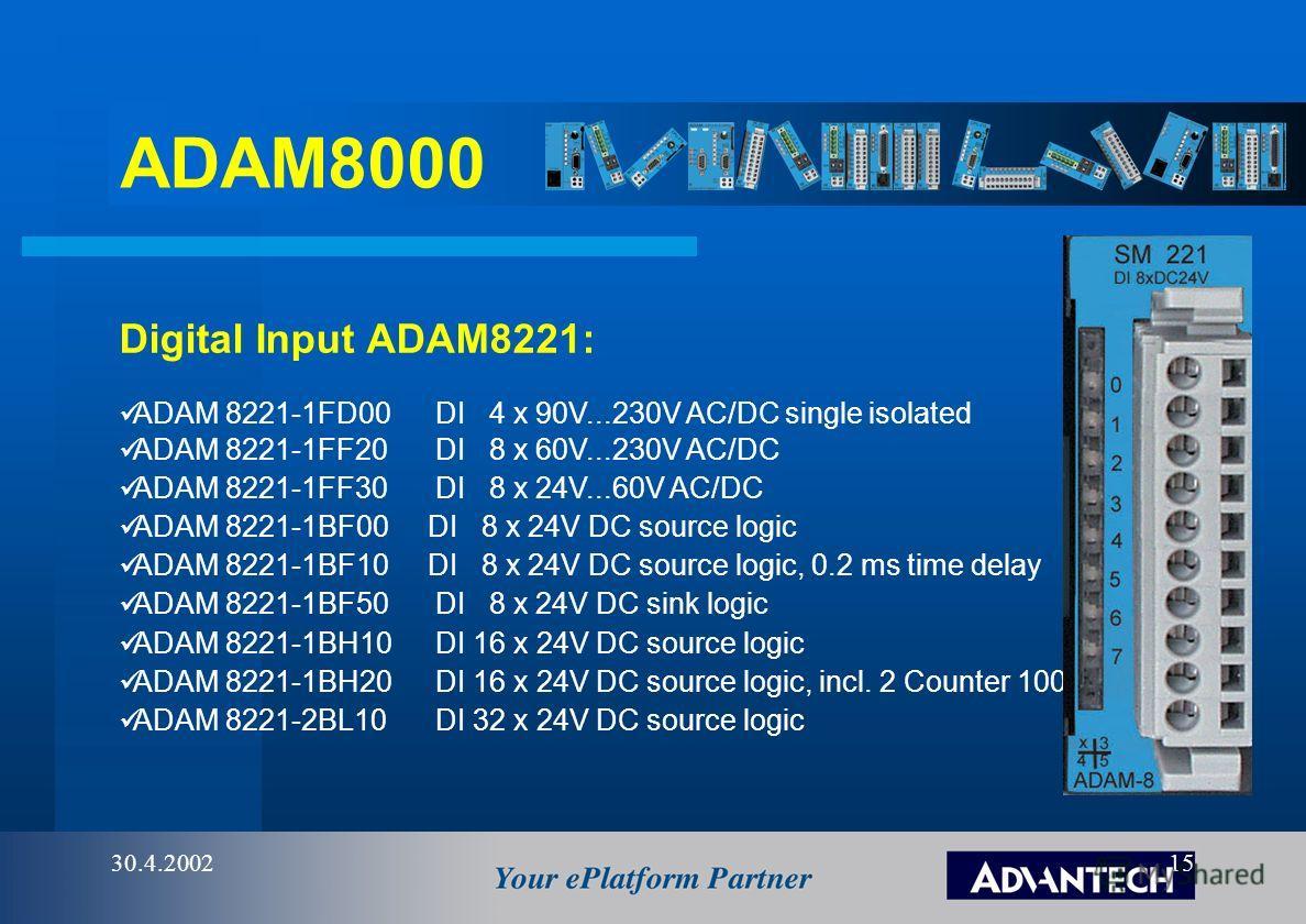 ADAM8000 30.4.200214 ADAM 8253-1DN00 IM253DN DeviceNet-Coupler. ADAM 8208-1CA01 IM253CA CANOpen Master. ADAM 8253-1CA01 IM253CA CAN-Bus-Coupler. Communication devices ADAM 8253-1TP00 IM253TP Ethernet-Coupler. Open Network Interface Module ADAM 8208-1