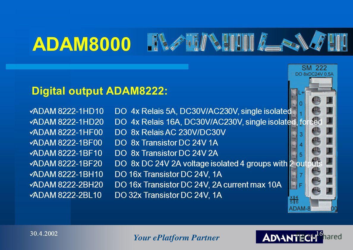 ADAM8000 30.4.200215 Digital Input ADAM8221: ADAM 8221-1FD00DI 4 x 90V...230V AC/DC single isolated ADAM 8221-1FF20DI 8 x 60V...230V AC/DC ADAM 8221-1FF30DI 8 x 24V...60V AC/DC ADAM 8221-1BF00 DI 8 x 24V DC source logic ADAM 8221-1BF10 DI 8 x 24V DC
