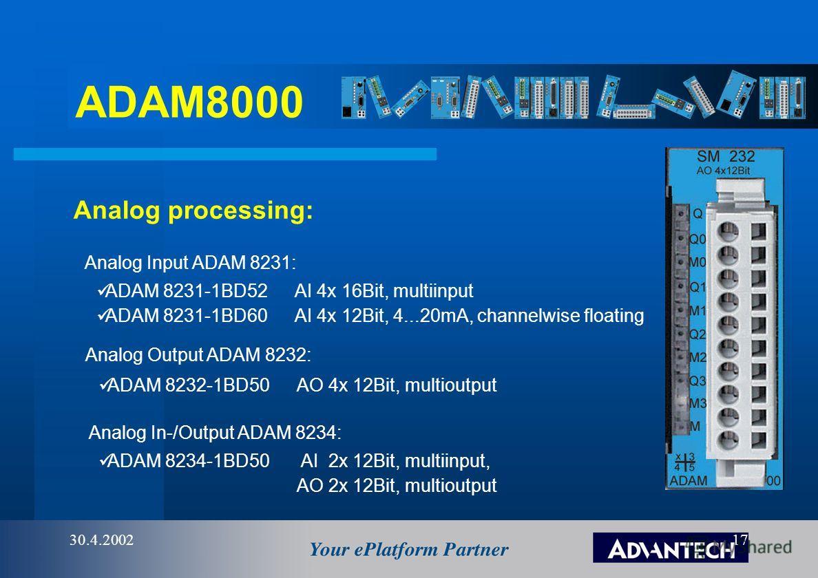 ADAM8000 30.4.200216 Digital output ADAM8222: ADAM 8222-1HD10DO 4x Relais 5A, DC30V/AC230V, single isolated ADAM 8222-1HD20DO 4x Relais 16A, DC30V/AC230V, single isolated, forced ADAM 8222-1HF00DO 8x Relais AC 230V/DC30V ADAM 8222-1BF00DO 8x Transist