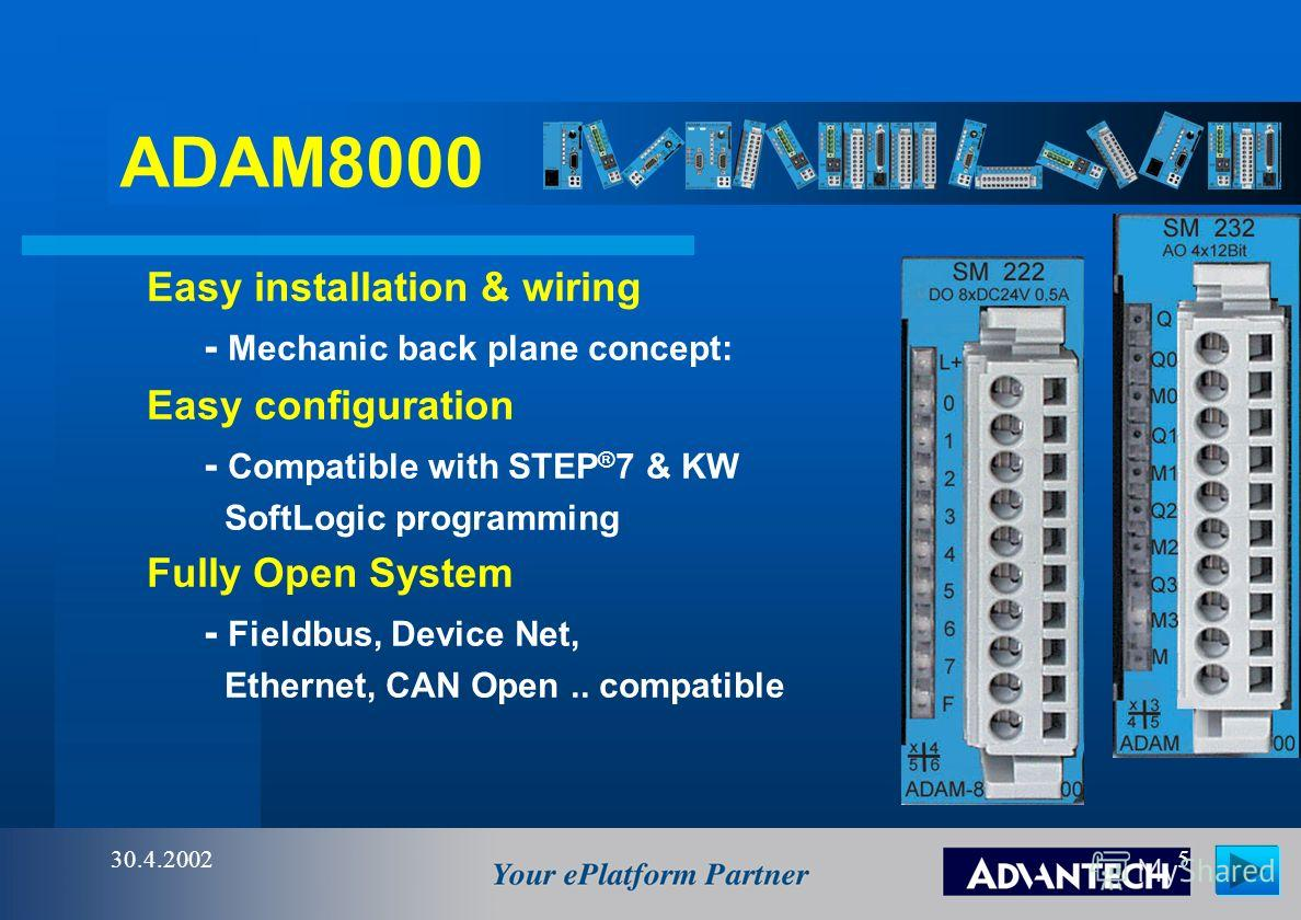 ADAM8000 30.4.20024 Space saving to high modularity and compact way of construction Simple and fast mounting on standard 35 mm top-hat DIN rail Simple set-up, flexible expansion of bus connector with 1-, 2-, 4- and 8-tier modules Mechanic back plane