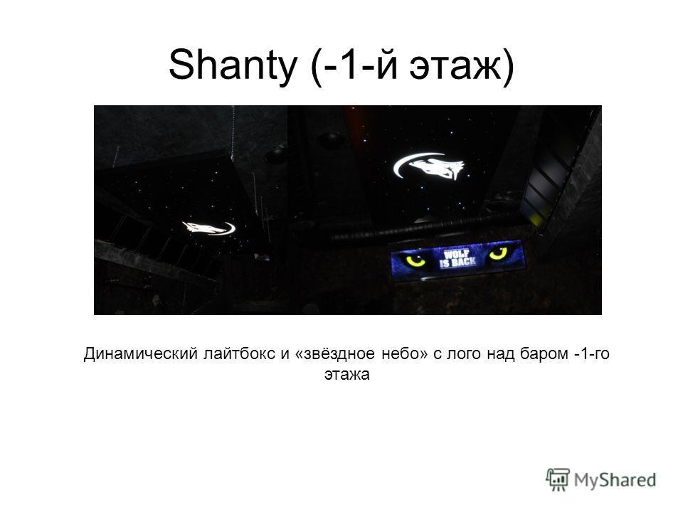 Shanty (-1-й этаж) Динамический лайтбокс и «звёздное небо» с лого над баром -1-го этажа