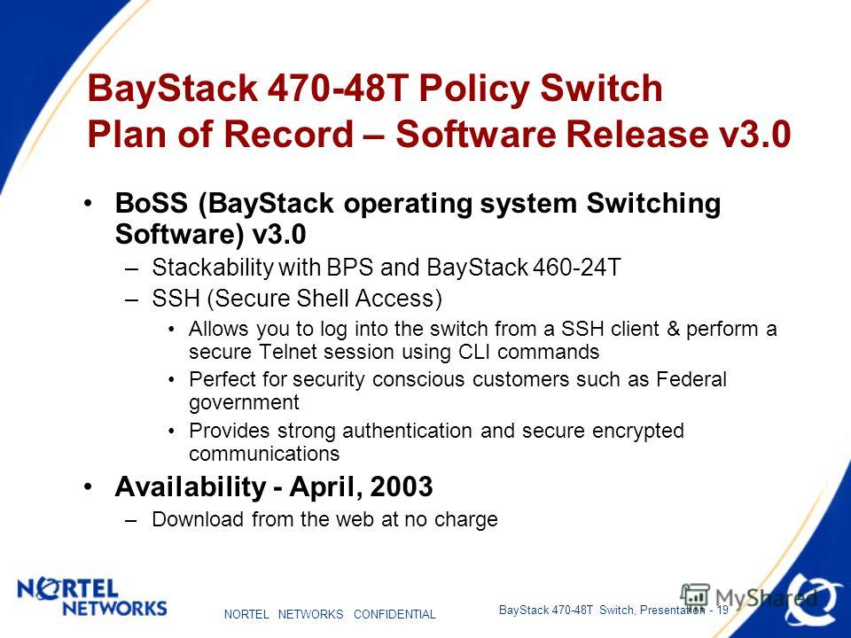 NORTEL NETWORKS CONFIDENTIAL BayStack 470-48T Switch, Presentation - 19 BayStack 470-48T Policy Switch Plan of Record – Software Release v3.0 BoSS (BayStack operating system Switching Software) v3.0 –Stackability with BPS and BayStack 460-24T –SSH (S