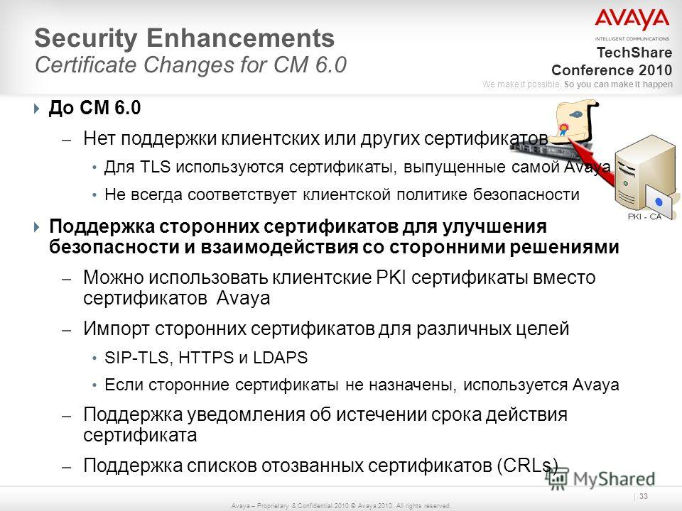 Avaya – Proprietary & Confidential 2010 © Avaya 2010. All rights reserved. TechShare Conference 2010 We make it possible. So you can make it happen Security Enhancements Certificate Changes for CM 6.0 33 До CM 6.0 – Нет поддержки клиентских или други