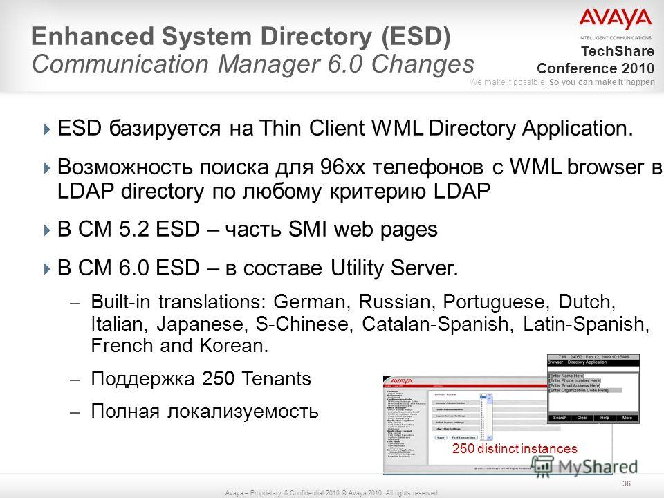 Avaya – Proprietary & Confidential 2010 © Avaya 2010. All rights reserved. TechShare Conference 2010 We make it possible. So you can make it happen 36 Enhanced System Directory (ESD) Communication Manager 6.0 Changes ESD базируется на Thin Client WML