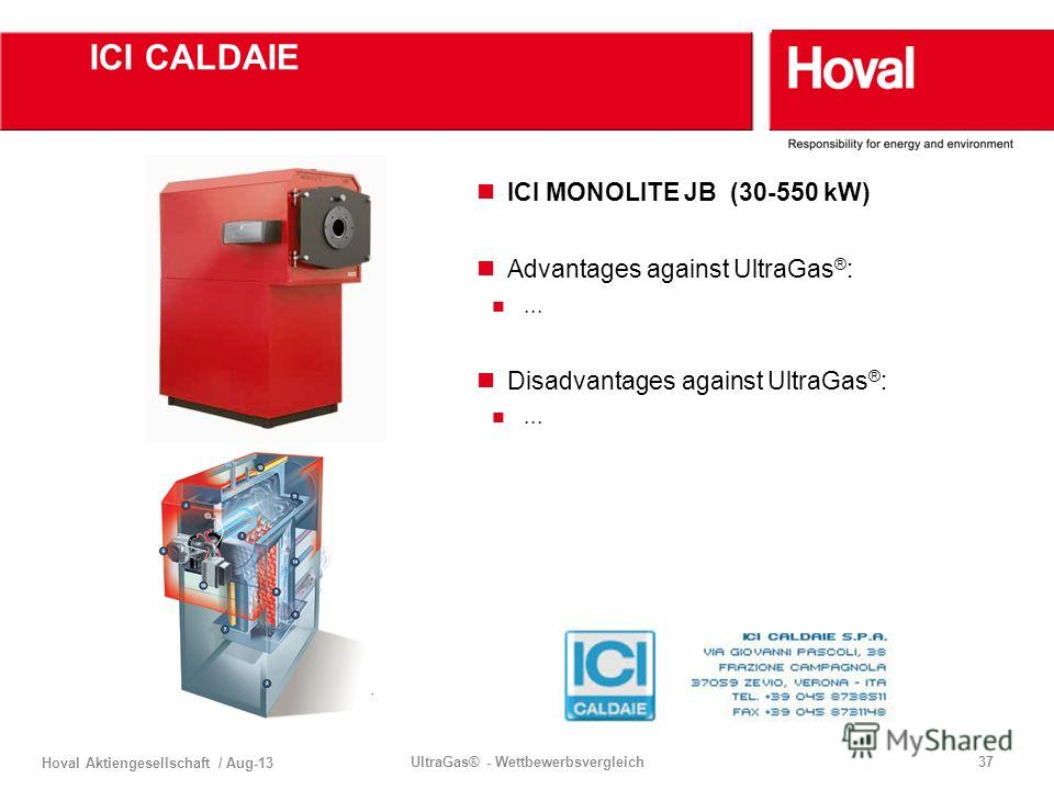 Hoval Aktiengesellschaft / Aug-13 UltraGas® - Wettbewerbsvergleich37 ICI CALDAIE ICI MONOLITE JB (30-550 kW) Advantages against UltraGas ® :... Disadvantages against UltraGas ® :...
