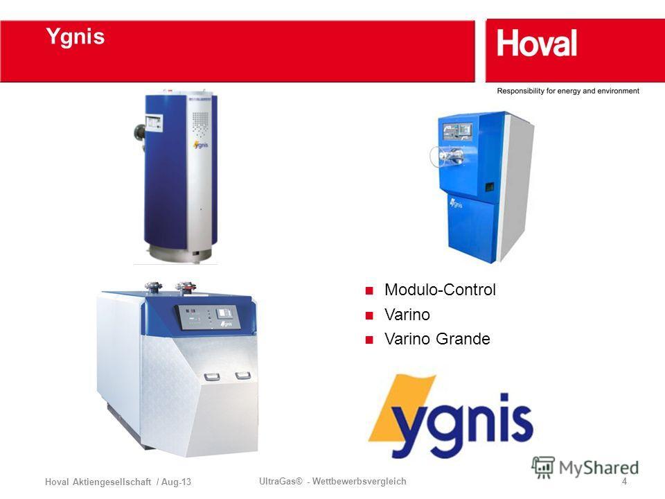 Hoval Aktiengesellschaft / Aug-13 UltraGas® - Wettbewerbsvergleich4 Ygnis Modulo-Control Varino Varino Grande