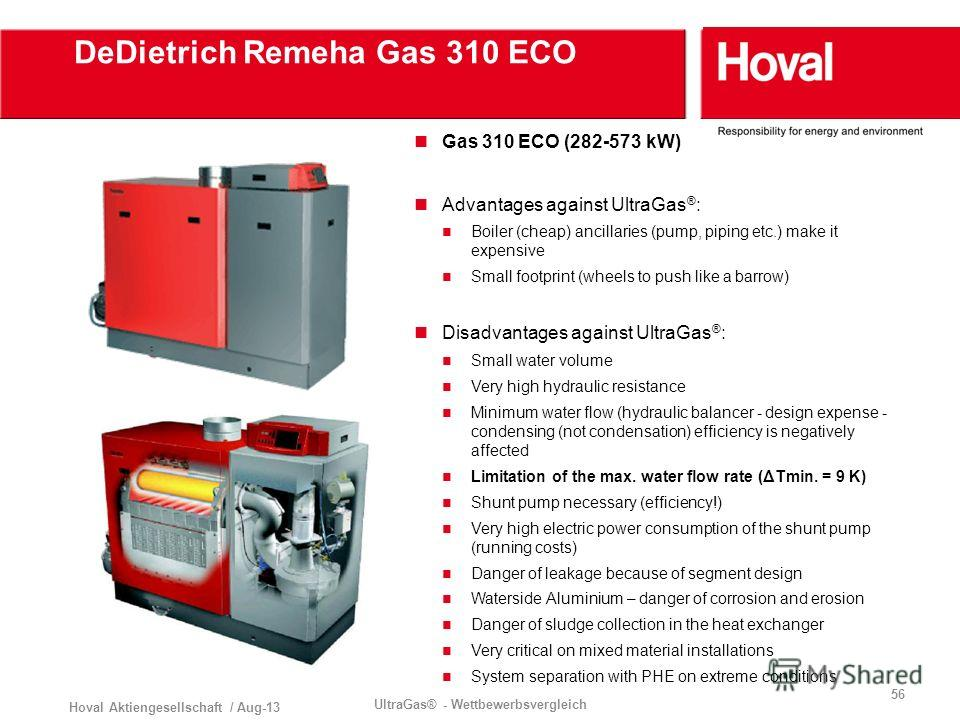 Hoval Aktiengesellschaft / Aug-13 UltraGas® - Wettbewerbsvergleich 56 DeDietrich Remeha Gas 310 ECO Gas 310 ECO (282-573 kW) Advantages against UltraGas ® : Boiler (cheap) ancillaries (pump, piping etc.) make it expensive Small footprint (wheels to p
