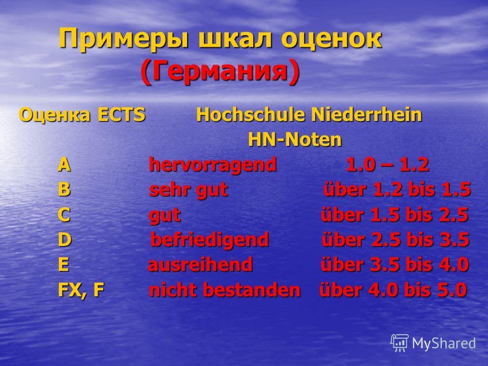 Примеры шкал оценок (Германия) Оценка ECTS Hochschule Niederrhein HN-Noten HN-Noten A hervorragend 1.0 – 1.2 A hervorragend 1.0 – 1.2 B sehr gut über 1.2 bis 1.5 B sehr gut über 1.2 bis 1.5 C gut über 1.5 bis 2.5 C gut über 1.5 bis 2.5 D befriedigend