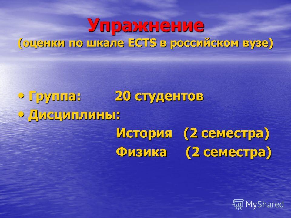 Упражнение (оценки по шкале ECTS в российском вузе) Группа: 20 студентов Группа: 20 студентов Дисциплины: Дисциплины: История (2 семестра) История (2 семестра) Физика (2 семестра) Физика (2 семестра)