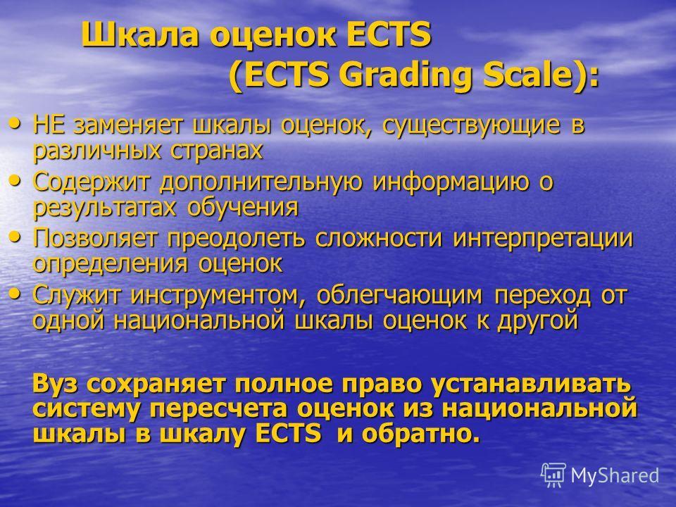 Шкала оценок ECTS (ECTS Grading Scale): Шкала оценок ECTS (ECTS Grading Scale): НЕ заменяет шкалы оценок, существующие в различных странах НЕ заменяет шкалы оценок, существующие в различных странах Содержит дополнительную информацию о результатах обу