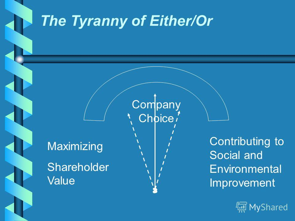 The Tyranny of Either/Or Maximizing Shareholder Value Company Choice Contributing to Social and Environmental Improvement