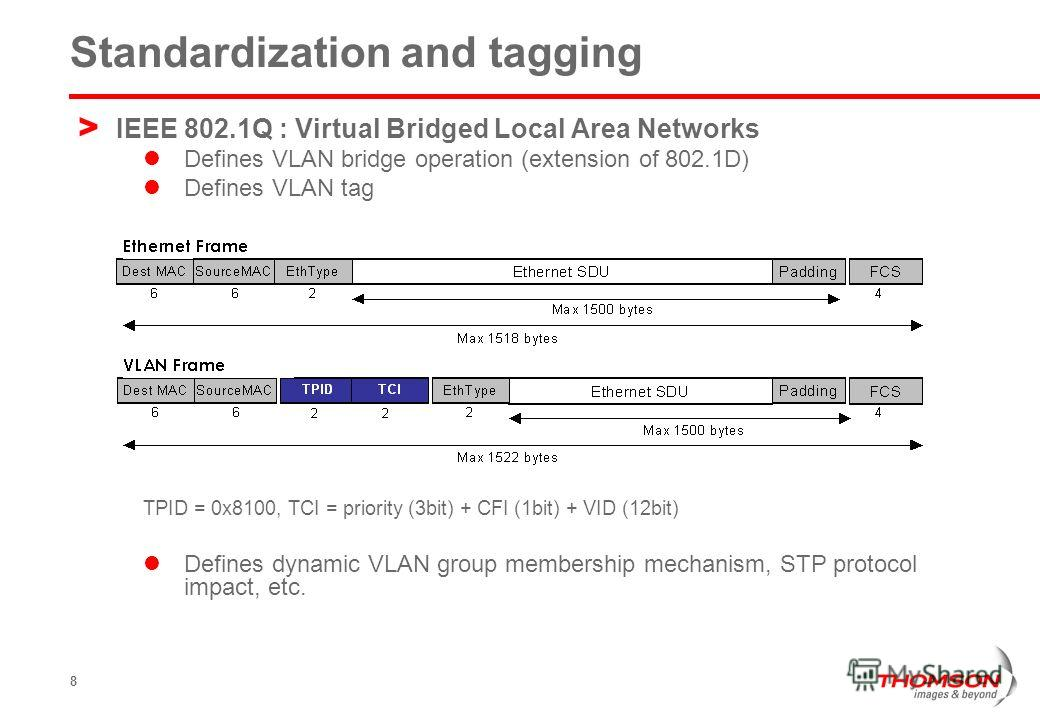 8 Standardization and tagging > IEEE 802.1Q : Virtual Bridged Local Area Networks Defines VLAN bridge operation (extension of 802.1D) Defines VLAN tag TPID = 0x8100, TCI = priority (3bit) + CFI (1bit) + VID (12bit) Defines dynamic VLAN group membersh
