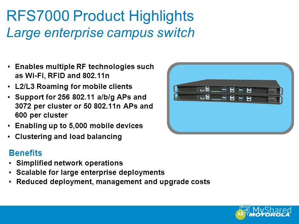 RFS7000 Product Highlights Large enterprise campus switch Enables multiple RF technologies such as Wi-Fi, RFID and 802.11n L2/L3 Roaming for mobile clients Support for 256 802.11 a/b/g APs and 3072 per cluster or 50 802.11n APs and 600 per cluster En