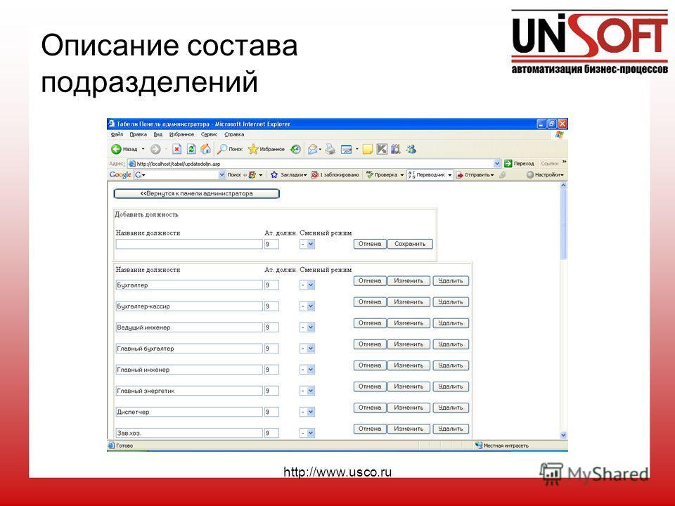 http://www.usco.ru Описание состава подразделений