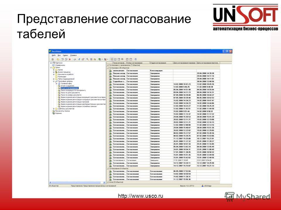 http://www.usco.ru Представление согласование табелей