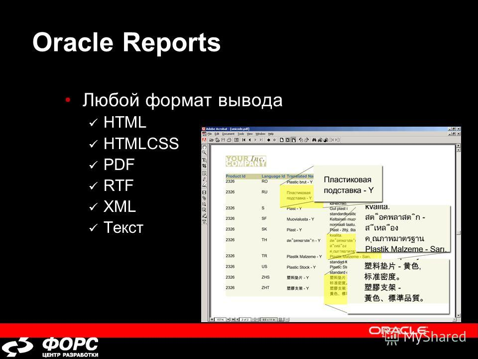 Oracle Reports Любой формат вывода HTML HTMLCSS PDF RTF XML Текст