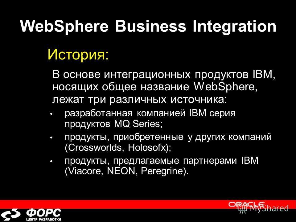 WebSphere Business Integration В основе интеграционных продуктов IBM, носящих общее название WebSphere, лежат три различных источника: разработанная компанией IBM серия продуктов MQ Series; продукты, приобретенные у других компаний (Crossworlds, Holo