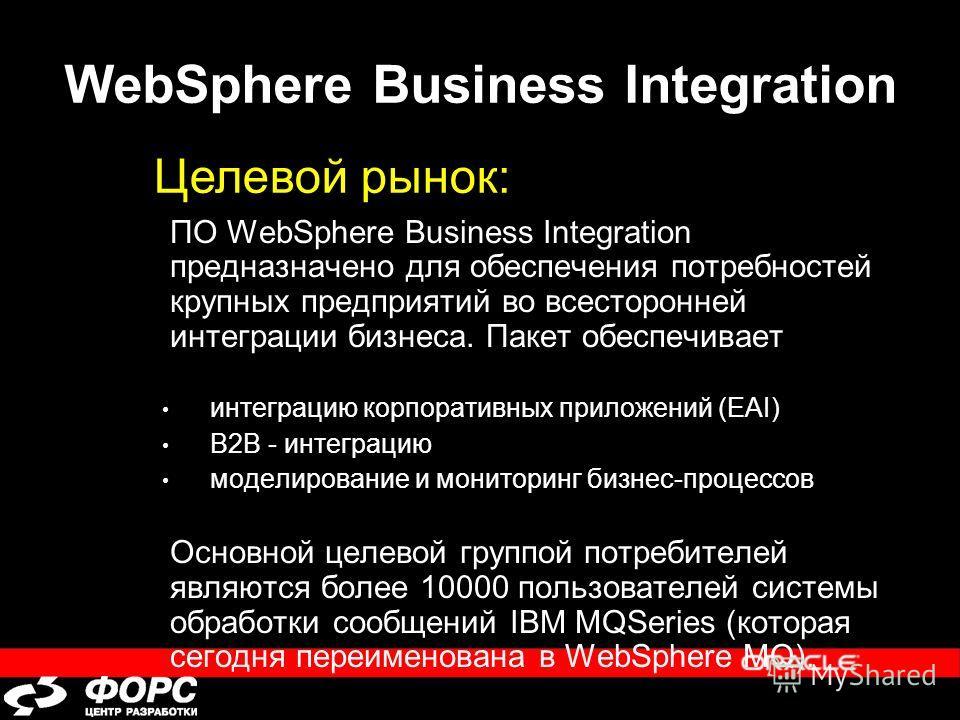 WebSphere Business Integration ПО WebSphere Business Integration предназначено для обеспечения потребностей крупных предприятий во всесторонней интеграции бизнеса. Пакет обеспечивает интеграцию корпоративных приложений (EAI) B2B - интеграцию моделиро