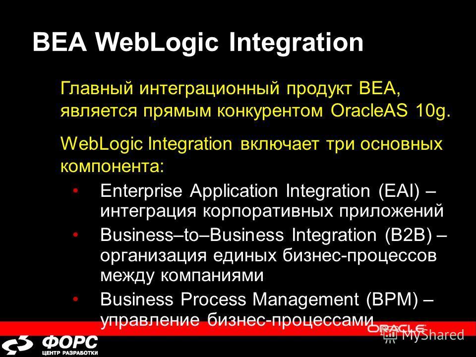BEA WebLogic Integration Enterprise Application Integration (EAI) – интеграция корпоративных приложений Business–to–Business Integration (B2B) – организация единых бизнес-процессов между компаниями Business Process Management (BPM) – управление бизне