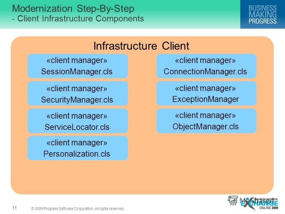 © 2009 Progress Software Corporation. All rights reserved. Modernization Step-By-Step - Client Infrastructure Components 11 Infrastructure Client «client manager» ObjectManager.cls «client manager» SessionManager.cls «client manager» SecurityManager.