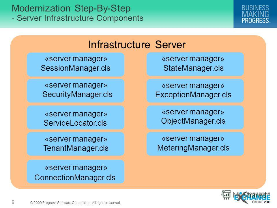 © 2009 Progress Software Corporation. All rights reserved. Modernization Step-By-Step - Server Infrastructure Components 9 Infrastructure Server «server manager» SecurityManager.cls «server manager» SessionManager.cls «server manager» ConnectionManag