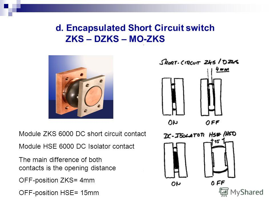 d. Encapsulated Short Circuit switch ZKS – DZKS – MO-ZKS Module ZKS 6000 DC short circuit contact Module HSE 6000 DC Isolator contact The main difference of both contacts is the opening distance OFF-position ZKS= 4mm OFF-position HSE= 15mm