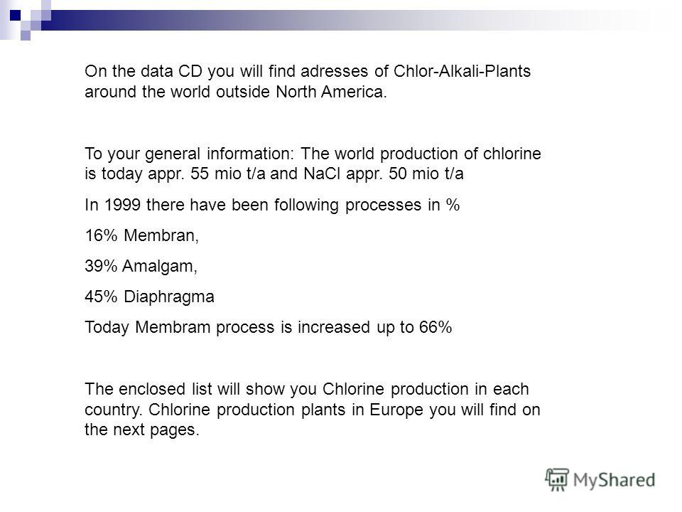 On the data CD you will find adresses of Chlor-Alkali-Plants around the world outside North America. To your general information: The world production of chlorine is today appr. 55 mio t/a and NaCl appr. 50 mio t/a In 1999 there have been following p