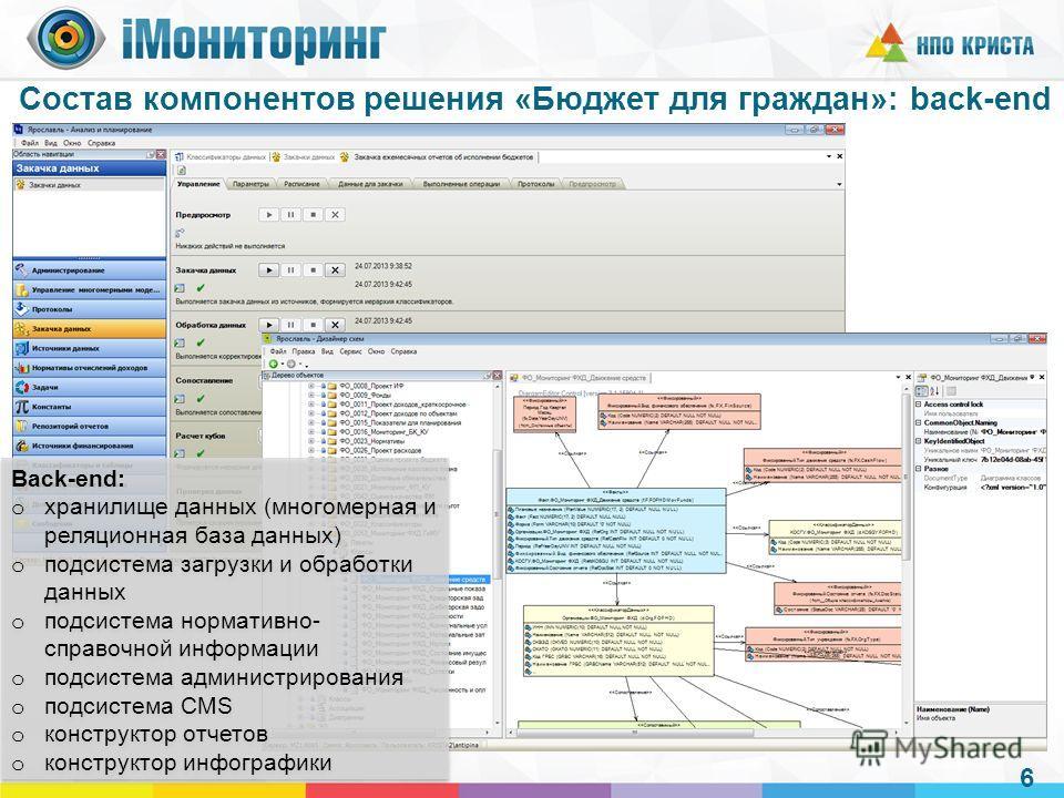 Состав компонентов решения «Бюджет для граждан»: back-end 6 Back-end: o хранилище данных (многомерная и реляционная база данных) o подсистема загрузки и обработки данных o подсистема нормативно- справочной информации o подсистема администрирования o