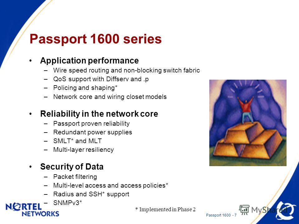 Passport 1600 - 7 Passport 1600 series Application performance –Wire speed routing and non-blocking switch fabric –QoS support with Diffserv and.p –Policing and shaping* –Network core and wiring closet models Reliability in the network core –Passport