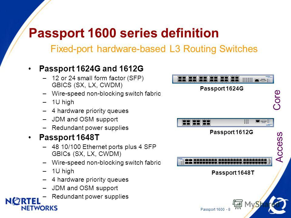 Passport 1600 - 8 Passport 1600 series definition Passport 1624G and 1612G –12 or 24 small form factor (SFP) GBICS (SX, LX, CWDM) –Wire-speed non-blocking switch fabric –1U high –4 hardware priority queues –JDM and OSM support –Redundant power suppli