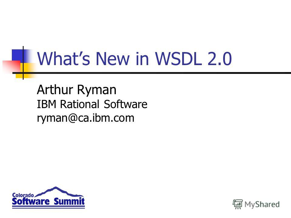 Whats New in WSDL 2.0 Arthur Ryman IBM Rational Software ryman@ca.ibm.com