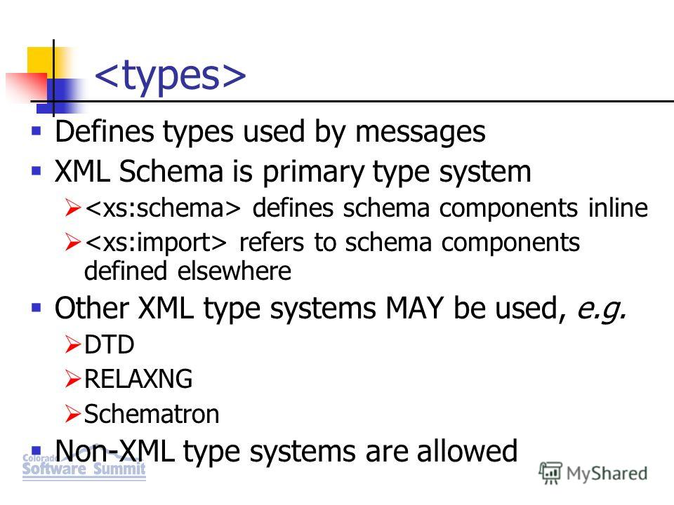 Defines types used by messages XML Schema is primary type system defines schema components inline refers to schema components defined elsewhere Other XML type systems MAY be used, e.g. DTD RELAXNG Schematron Non-XML type systems are allowed