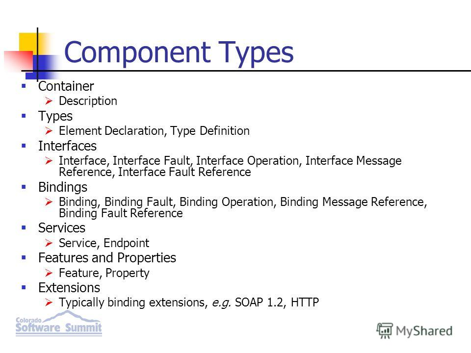Component Types Container Description Types Element Declaration, Type Definition Interfaces Interface, Interface Fault, Interface Operation, Interface Message Reference, Interface Fault Reference Bindings Binding, Binding Fault, Binding Operation, Bi