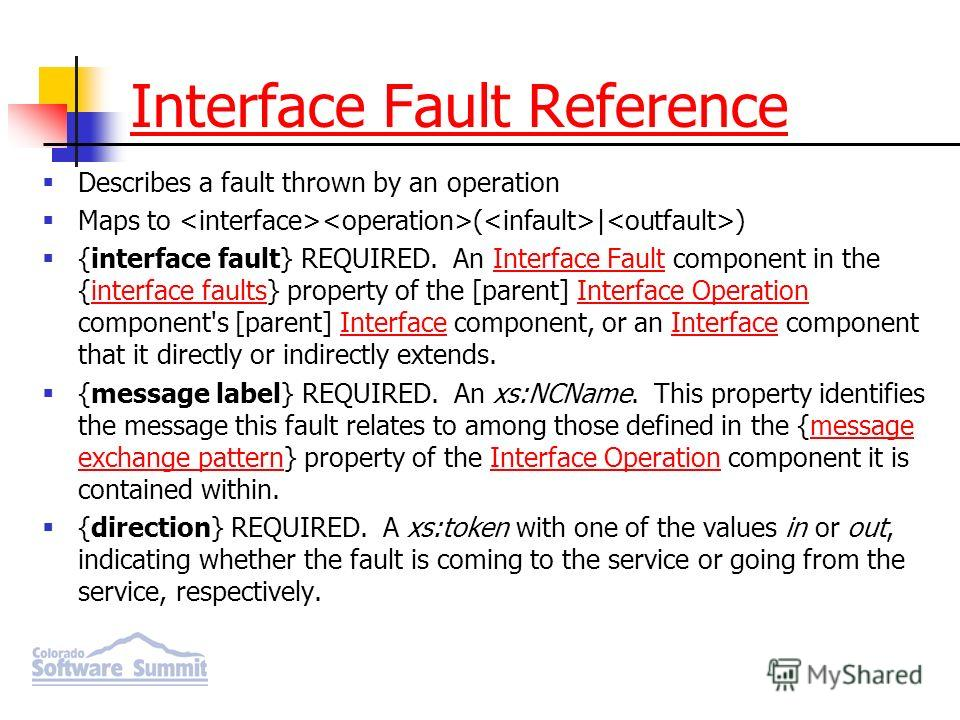 Interface Fault Reference Describes a fault thrown by an operation Maps to ( | ) {interface fault} REQUIRED. An Interface Fault component in the {interface faults} property of the [parent] Interface Operation component's [parent] Interface component,