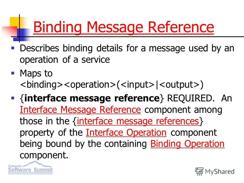 Binding Message Reference Describes binding details for a message used by an operation of a service Maps to ( | ) {interface message reference} REQUIRED. An Interface Message Reference component among those in the {interface message references} prope