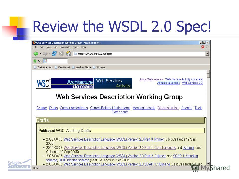 Review the WSDL 2.0 Spec!