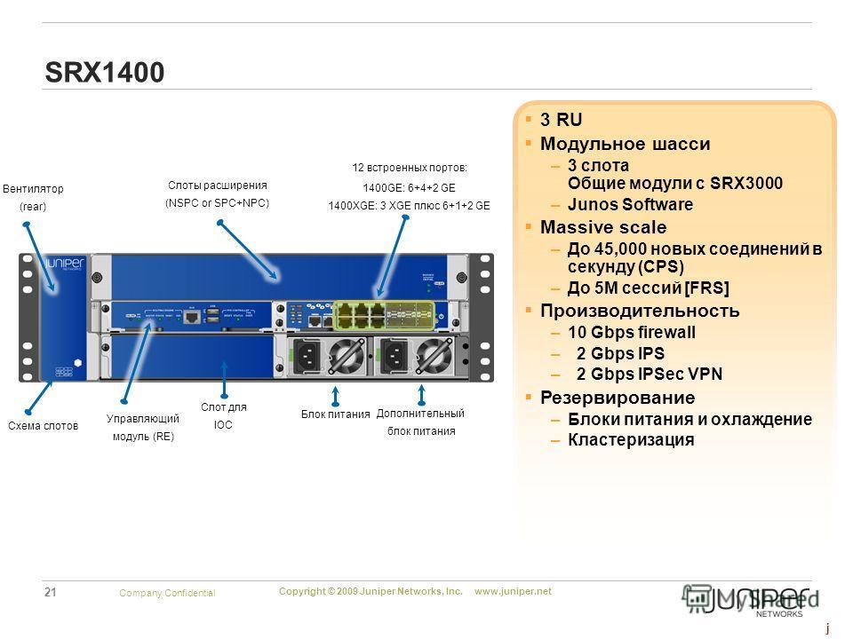 21 Copyright © 2009 Juniper Networks, Inc. www.juniper.net Company Confidential 3 RU Модульное шасси –3 слота Общие модули с SRX3000 –Junos Software Massive scale –До 45,000 новых соединений в секунду (CPS) –До 5М сессий [FRS] Производительность –10