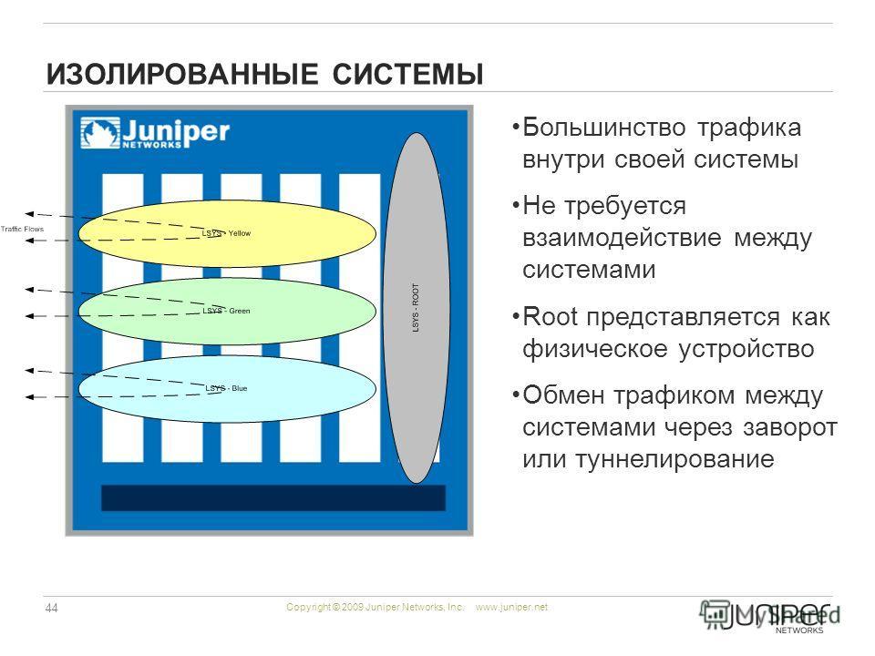 44 Copyright © 2009 Juniper Networks, Inc. www.juniper.net ИЗОЛИРОВАННЫЕ СИСТЕМЫ Большинство трафика внутри своей системы Не требуется взаимодействие между системами Root представляется как физическое устройство Обмен трафиком между системами через з