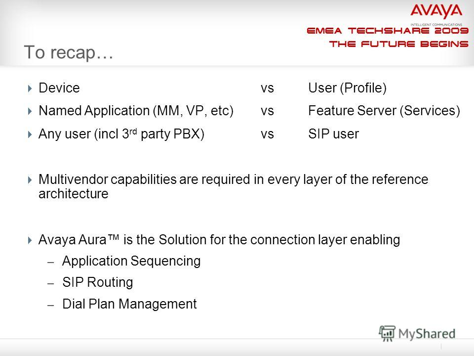 EMEA Techshare 2009 The Future Begins To recap… Device vs User (Profile) Named Application (MM, VP, etc)vs Feature Server (Services) Any user (incl 3 rd party PBX)vsSIP user Multivendor capabilities are required in every layer of the reference archit