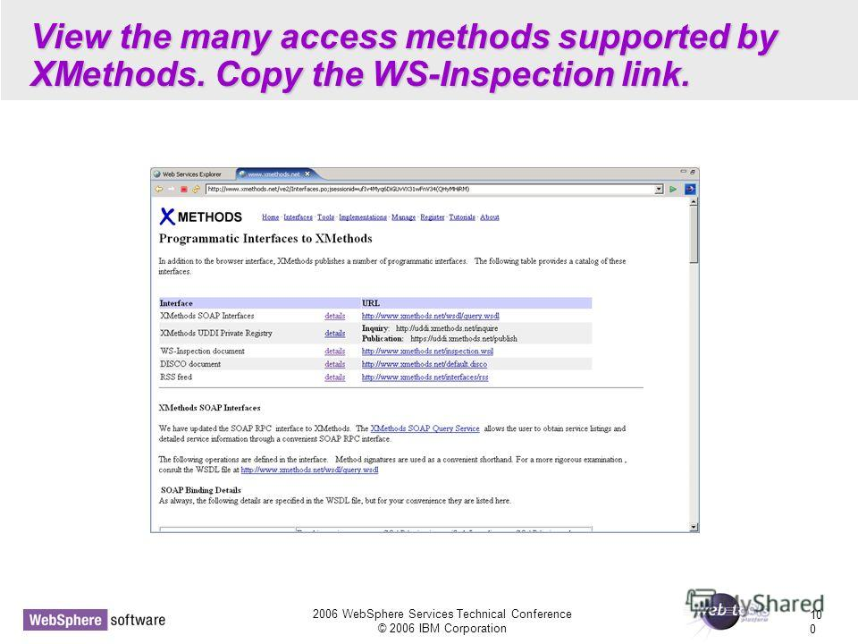 2006 WebSphere Services Technical Conference © 2006 IBM Corporation 10 0 View the many access methods supported by XMethods. Copy the WS-Inspection link.