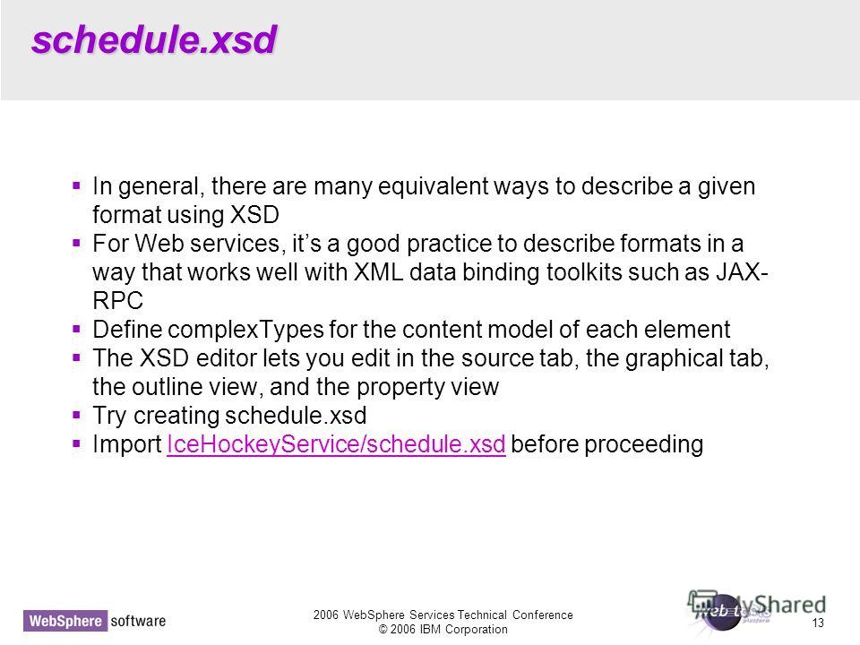 2006 WebSphere Services Technical Conference © 2006 IBM Corporation 13 schedule.xsd In general, there are many equivalent ways to describe a given format using XSD For Web services, its a good practice to describe formats in a way that works well wit
