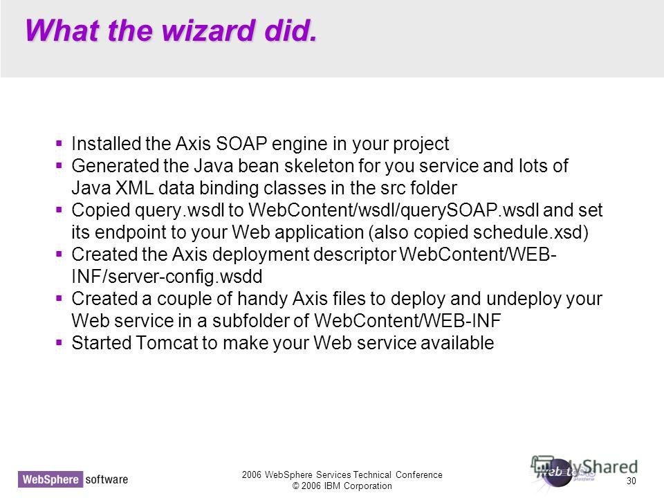 2006 WebSphere Services Technical Conference © 2006 IBM Corporation 30 What the wizard did. Installed the Axis SOAP engine in your project Generated the Java bean skeleton for you service and lots of Java XML data binding classes in the src folder Co