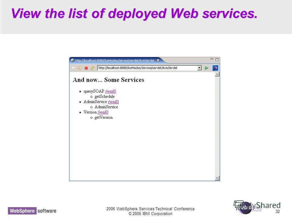 2006 WebSphere Services Technical Conference © 2006 IBM Corporation 32 View the list of deployed Web services.
